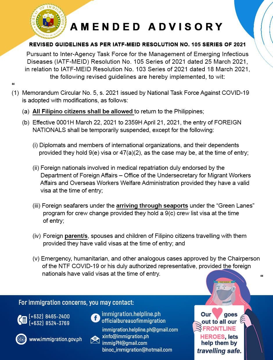 Covid 19 Public Advisory No 54 Updates To Temporary Suspension Of Travel Into The Philippines From 22 March 2021 To 30 April 2021 Embassy Of The Philippines In Norway