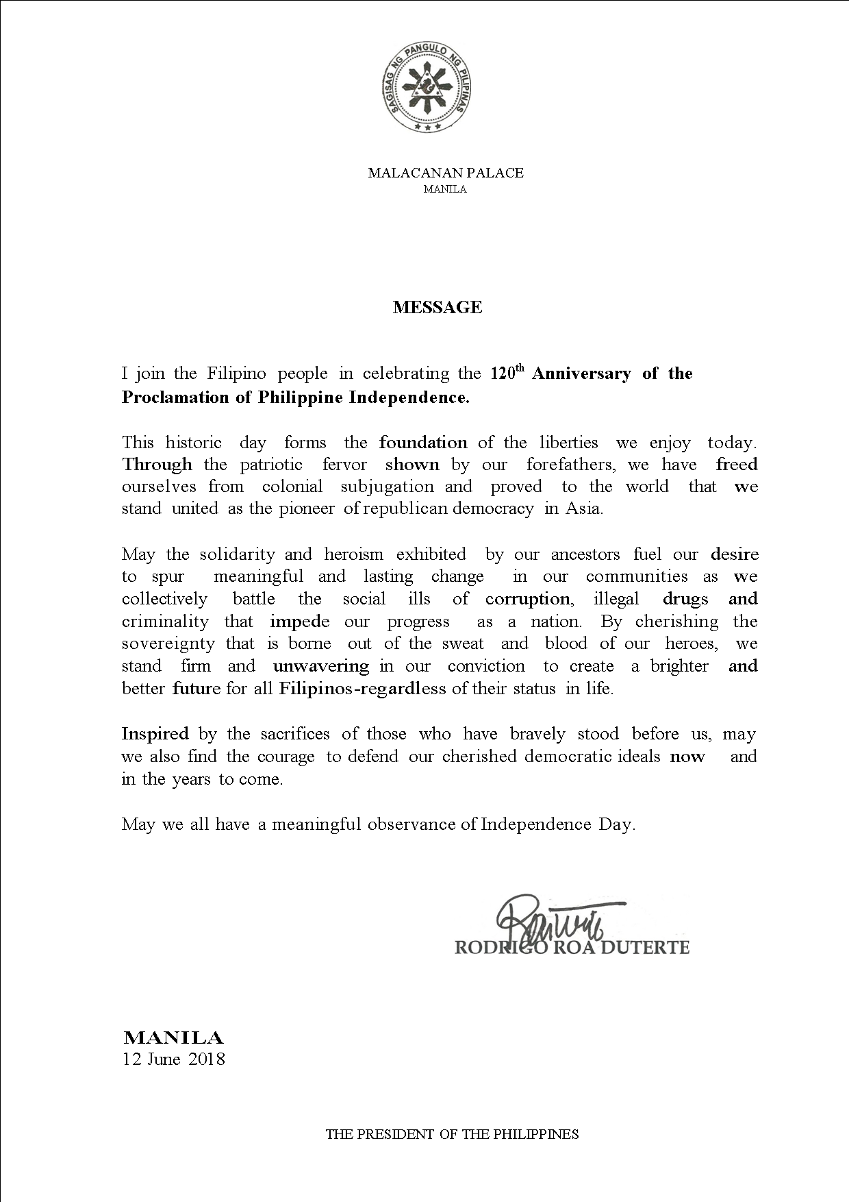 12 June 2018 Independence Day Message of PRRD