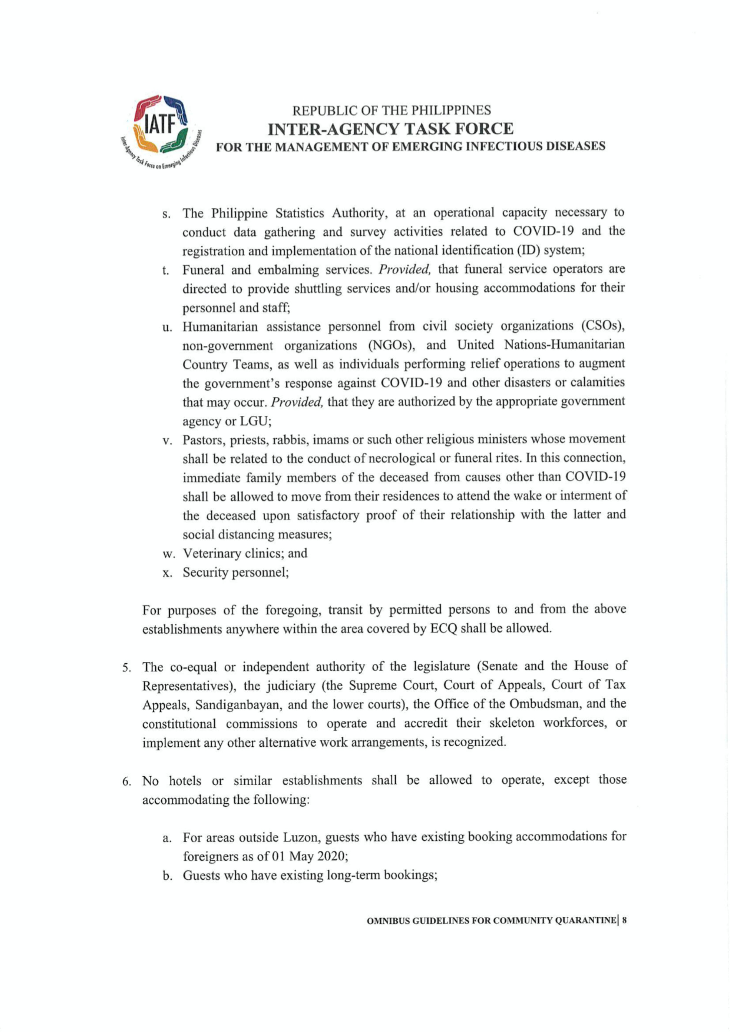 Omnibus Guidelines on the Implementation of Community Quarantine in the Philippines