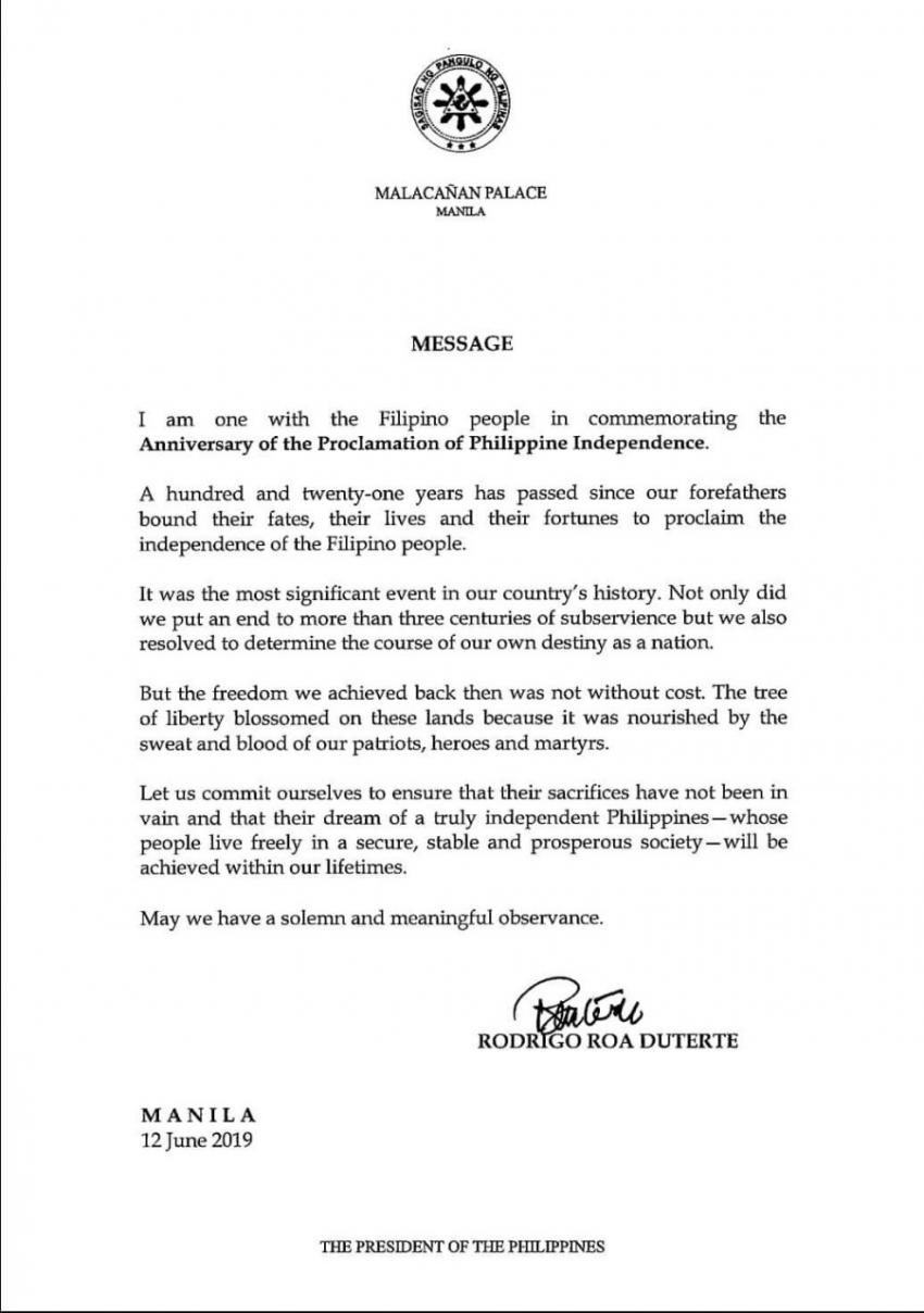 Messages on the Occasion of the 121st Anniversary of the Proclamation of Philippine Independence