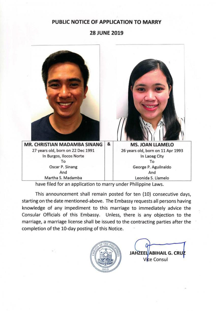 Public Notice of Application to Marry - Sinang, Christian M. and Llamelo, Joan