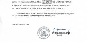 Notice for Posting: Correction of Clerical Error in Report of Birth of Emmanuel Martin